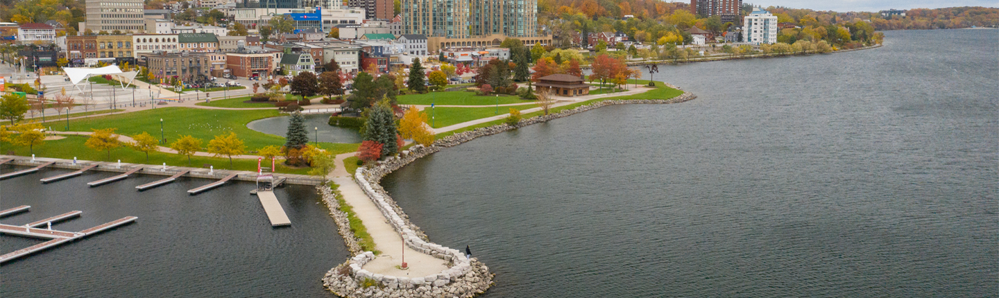 Arial view of the pier and waterfront park in downtown Barrie