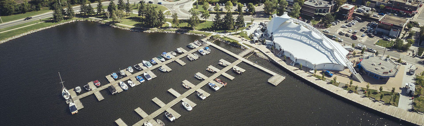 Aerial view of the Whitecap Pavillion and docks at the Kenora harbourfront